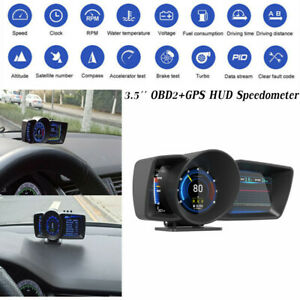3.5'' Speedometer Car OBD2+GPS Gauge HUD Head-Up Display RPM Alarm Double Screen