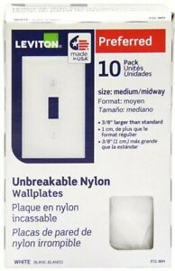 Leviton Toggle Single Gang Midway Nylon wall plate in White (10-Pack)