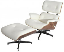 eMod Eames Style Lounge Chair & Ottoman Aniline Leather White Walnut