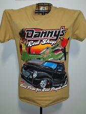 DANNY'S ROD SHOP LG HOTROD TEE SHIRT / 40 WILLYS/AIRPLANE/HULA GIRL/PALM TREE