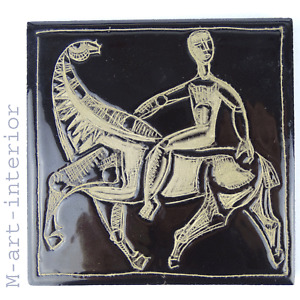 Alte Keramik Fliese Kachel Cubism 🟣 Peake 🟣 Picasso Style Horse Tile 🟣 1950er