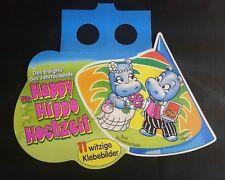"""Original Palettenanhänger """"Happy Hippo Hochzeit"""" Deutschland 1999 Hütchen"""
