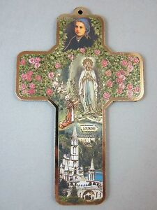 """Our Lady of Lourdes Picture Wall Cross on Wood  5"""" Made in Italy"""