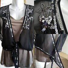 Sheer Black Bolero with Silver Sequin floral design **Only** size M/L (av11-9)