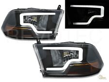 Black Plank LED Bar Headlights For 09-18 Dodge Ram 1500 2500 Pickup