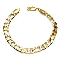 "Men's/Women's Bracelet 18K Yellow Gold Filled 8"" Chain 6mm Link Fashion Jewelry"
