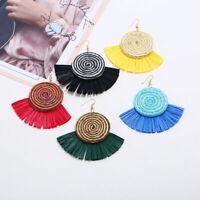 Women Hook Sector Tassels Pendant Dangle Drop Earrings Eardrop Raffia Jewelry
