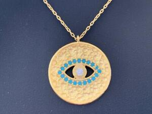 18K Gold Sterling Silver Evil Eye Necklace Disc Mati Turquoise CZ Cubic Zirconia