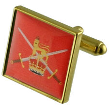 Army Soldier Gold Square Cufflinks In Engraved Personalised Case
