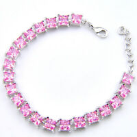 European Party Gift Love Heart Sweet Pink Topaz Gems Silver Charm  Bracelets