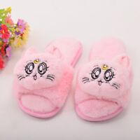Girls Anime Sailor Moon Home Slippers Luna Cat Anti-skid Plush Warm Cat Slippers