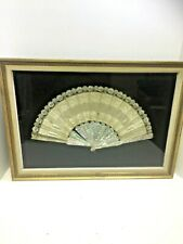 Antique Victorian French Style Lace & Silk Hand Fan Mother of Pearl Stays Framed