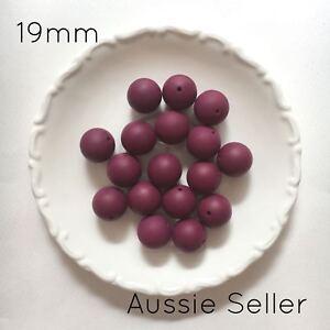 10 silicone beads PLUM 19mm round BPA free 4 sensory jewellery 20mm red purple