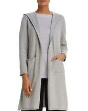 Eileen Fisher Dark Pearl Peruvian Organic Cotton Knit Open Hooded Cardigan M