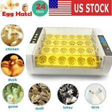 Automatic 24 Eggs Incubator Digital Farm Duck Chicken Hatcher Turning Led Lamp