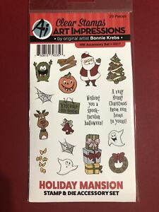 Art Impressions Stamp & Dies Set HOLIDAY MANSION ACCESSORY Christmas Halloween