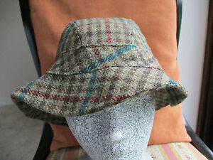 Lawrence & Foster 100% wool floppy tweed hat - brown/green - size M