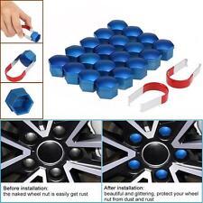 20pcs/set Universal 17mm Chrome Plastic Car Wheel Nut Covers Bolt Caps Blue V8Z0