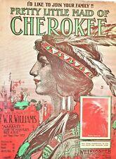 1909 Vivid NATIVE AMERICANA sheet music Pretty Little Maid Cherokee Marie Roslyn