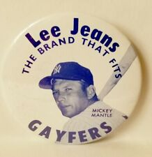 1970's Lee Jeans, Mickey Mantle Photo, Large  Metal Badge, Never Worn