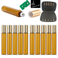10Pcs Roller Amber Bottles 10ml Essential Oil Case Carry Holder Aromatherapy