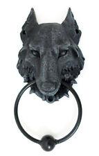 Woolf Elsässer Dog's Kopf Schwarz Kunstharz / Metall Türklopfer Goth 20 CM X