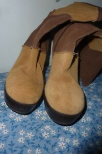 Womens sz 7 SKECHERS Brown Suede patchwork Leather Boots w/ high heel