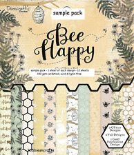 DOVECRAFT PREMIUM  BEE HAPPY PAPERS - 6 X 6 SAMPLE PACK  - 12 SHEETS