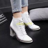Women Canvas Heels Hgih Heel Block Leather Pump Sneaker Shoes Lace Up Boots