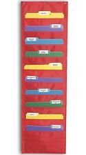10 Fabric Pocket chart Storage File Folder Hanging Wall Organizer SchoolHome Red
