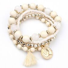 Hot Jewelry Multi-layer Colorful Beads Coin Tassel Bracelets Metal Bracelet