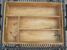 Vintage Dove Tail Wood Serving Tray - Display Case for Primitive Miniatures +