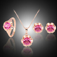 Gold plated Cz necklace earrings ring jewelry set Graceful Females' Top New