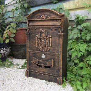 Retro Vintage European Mailbox Cast Iron Aluminum Wall Mount Locking Letter Box