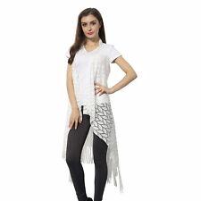 White Leaf Pattern Crochet Sleeveless Kimono with Fringes S M L XL 1X ONE SIZE