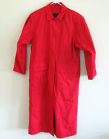 Vtg 90s EDDIE BAUER Red Cotton Canvas Full Length Trench Coat Duster Jacket Sz M