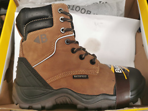 New Buckshot Safety Style Lace Zip Boot Crazy Horse Leather UK SIZES  BSH008WPNM