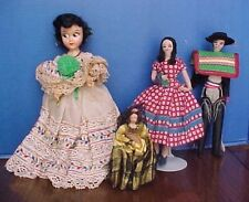 4 VINTAGE HISPANIC DOLLS- SPANISH OR MEXICAN