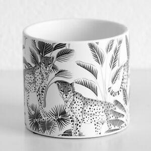 White Cheetah Floral Ceramic Indoor Small 13cm Round Plant Pot Cover Cat Planter