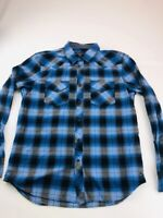 American Eagle Outfitters Mens Western Shirt Blue Plaid Vintage Fit Snaps L