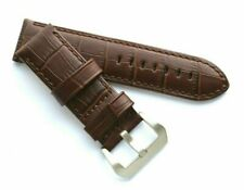 26mm Brown Croco Embossed Leather Replacement Watch Strap Silver Brushed Buckle