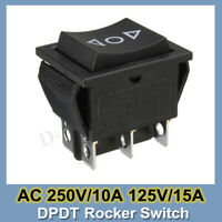 AC 250V/10A 125V/15A 6-Pin DPDT Power Window Momentary Rocker Switch 12 Volt New