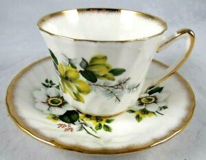 Royal Ardalt Tea Cup Saucer Set Gold Trim Yellow Green White Floral Bone China