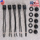 5pcs 12V 4' Wire Leads Waterproof On-Off Push-Button Switch for Motorcycle Car