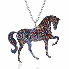 New Printing Animal Horse Pendant Necklace Women Costume Xmas Party Jewelry Gift