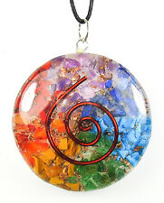 PENDANT - ORGONE (ORGONITE) Circle CHAKRA BALANCER with Copper Spiral with Card