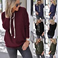 Womens Long Sleeve Hoody Hooded Hoodies Sweatshirt Ladies Casual T-shirt Tops