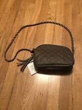 Wilsons Grey Leather Quilted Chain Link Purse New
