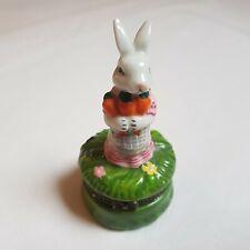 More details for limoges vtg ceramic trinket box bunny rabbit 8cm french porcelain hand painted