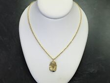 14 KT GOLD EGYPTIAN KING TUT PENDANT WITH 24 INCH 14 KT ROPE CHAIN